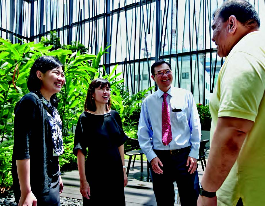 (Left to right) Dr Tricia Kuo, Dr Cherylin Fu, Associate Professor Emile Tan, and patient Mr Leong.